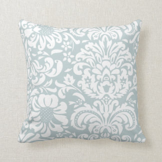 Cloud Blue and White Floral Damask Throw Pillow