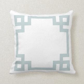 Cloud Blue and White Greek Key Border Throw Pillow