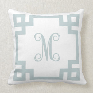 Cloud Blue and White Greek Key Script Monogram Pillow