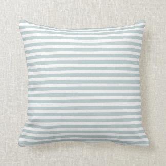 Cloud Blue and White Nautical Stripes Throw Pillow