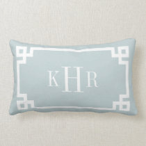 Cloud Blue Greek Key Border Custom Monogram Lumbar Pillow