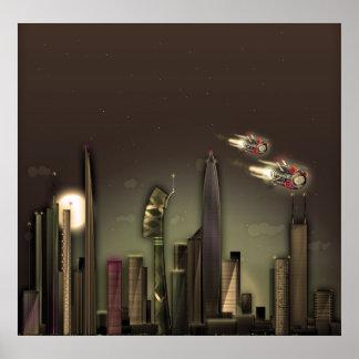 Cloud City Sepia Poster