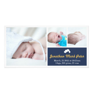 Cloud Dark Blue & Yellow Birth Announcement Photo Cards