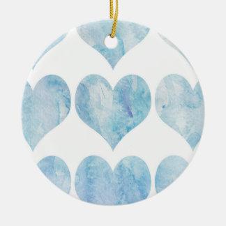 Cloud Filled Hearts Ceramic Ornament