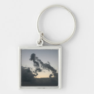 Cloud formation, dog skeleton? cartoon? Silver-Colored square keychain