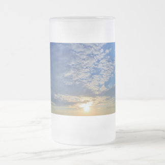 Cloud Formations on top of the Sun Frosted Glass Beer Mug