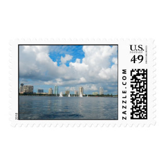 Cloud framed skyline of St. Pete with sailboats Postage