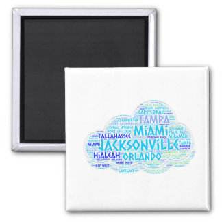 Cloud illustrated with cities of Florida State USA Magnet
