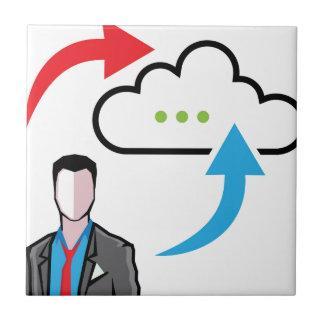 Cloud information exchange progress businessman ceramic tile