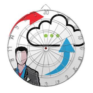 Cloud information exchange progress businessman dart board