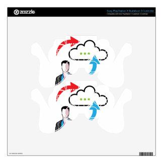 Cloud information exchange progress businessman decal for PS3 controller