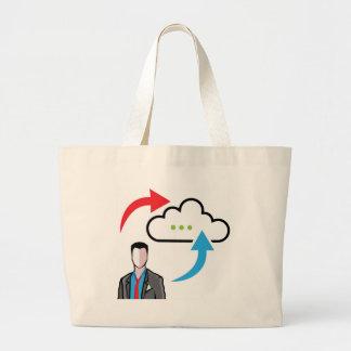Cloud information exchange progress businessman large tote bag