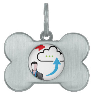 Cloud information exchange progress businessman pet ID tag