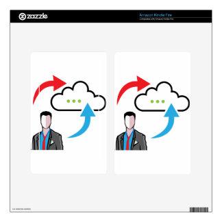 Cloud information exchange progress businessman skins for kindle fire