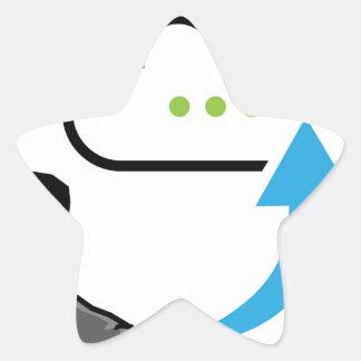 Cloud information exchange progress businessman star sticker