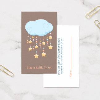 Cloud Mobile Baby Shower Diaper Raffle Ticket
