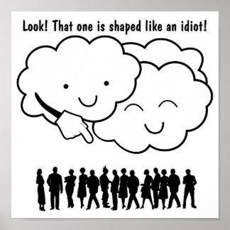 Cloud Mocks Human Shapes Funny Cartoon Poster