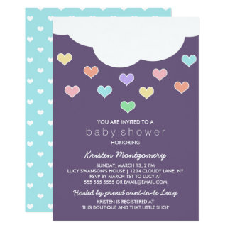 Cloud & Pastel Hearts | Purple Baby Shower Invite