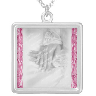 Cloud Pink Vintage Berries Wedding Silver Plated Necklace