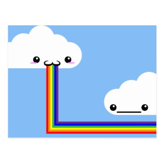 Cloud Puking Rainbow Card Post Cards