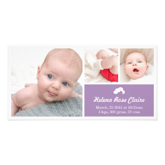 Cloud Purple Birth Announcement Photo Card