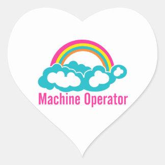 Cloud Rainbow Machine Operator Heart Sticker