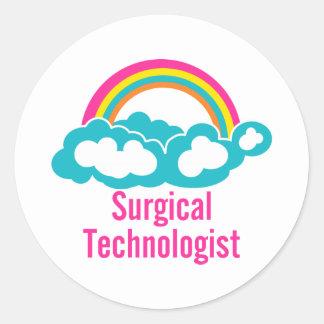 Cloud Rainbow Surgical Technologist Classic Round Sticker