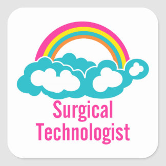 Cloud Rainbow Surgical Technologist Square Sticker