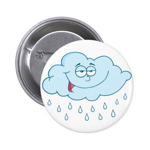 Cloud Raining Mascot Cartoon Character Pinback Buttons
