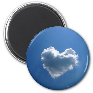 Cloud shape of a heart 2 inch round magnet