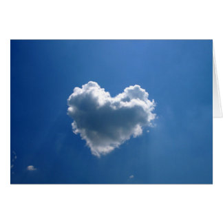 Cloud shape of a heart greeting card