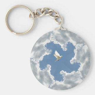 Cloud silver lining white dove keychain