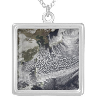 Cloud simulation of a single day 4 silver plated necklace