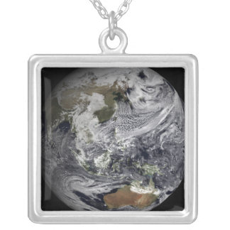 Cloud simulation of the full Earth Silver Plated Necklace