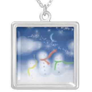 cloud snowmen personalized necklace