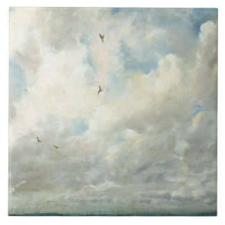 Cloud Study, 1821 (oil on paper laid down on board Large Square Tile