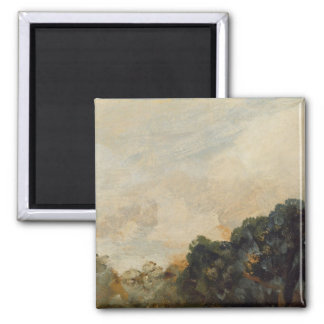 Cloud Study with Trees, 1821 (oil on paper laid do 2 Inch Square Magnet