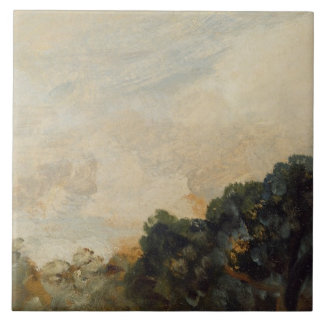Cloud Study with Trees, 1821 (oil on paper laid do Large Square Tile