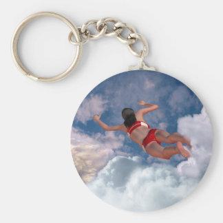 Cloud Swimming Basic Round Button Keychain