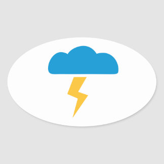 Cloud thunderstorm oval sticker