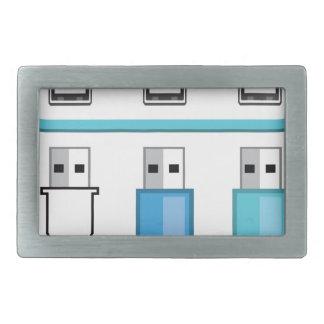 Cloud USB hub Rectangular Belt Buckle