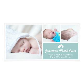 Cloud Vintage Blue Birth Announcement Photo Card