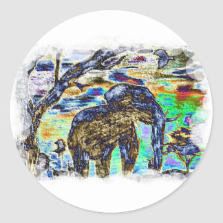 Clouded-Colour- Elephant Classic Round Sticker