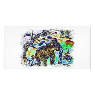 Clouded-Colour- Elephant Photo Card