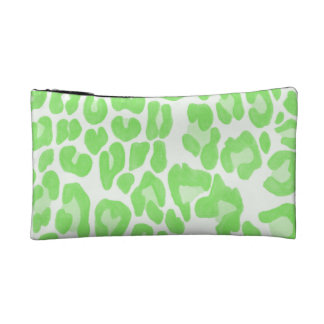 Clouded Leopards on a Log Pouch -- Green Makeup Bags