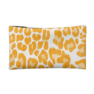 Clouded Leopards on a Log Pouch -- Orange Makeup Bags