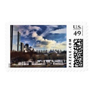 Cloudgate en el parque del milenio timbres postales