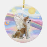 Clouds - Akita Inu Angel Double-Sided Ceramic Round Christmas Ornament