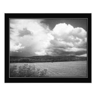 Clouds and Fields Vermont black and white bordered Photo Print