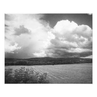 Clouds and Fields Vermont black and white Photo Print